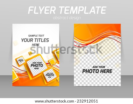 Abstract flyer template design with orange squares - stock vector