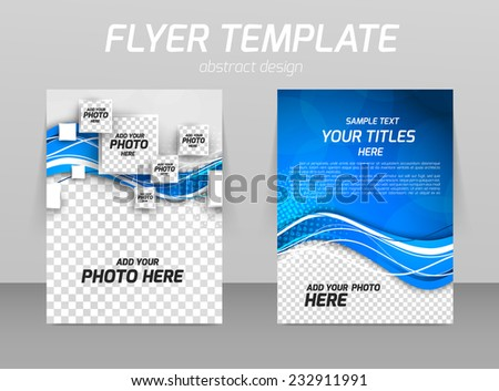 Abstract flyer template design with wave in blue color and squares - stock vector