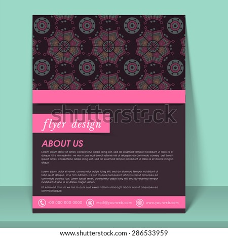 Abstract flyer, template or brochure design decorated with traditional floral pattern. - stock vector