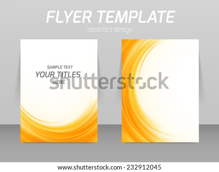 Abstract flyer template soft orange wave design - stock vector