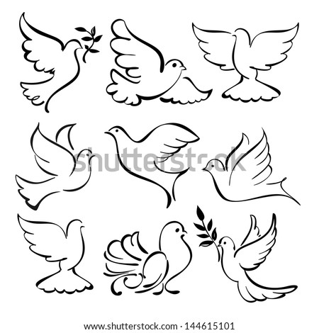 abstract flying dove sketch set vector  illustration - stock vector