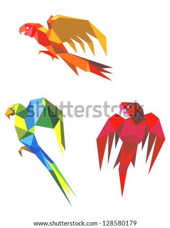 Abstract flying origami parrots isolated on white background. Jpeg version also available in gallery - stock vector