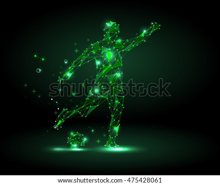 Abstract football player, kick a ball. Dots and lines connected. Sport. Vector.