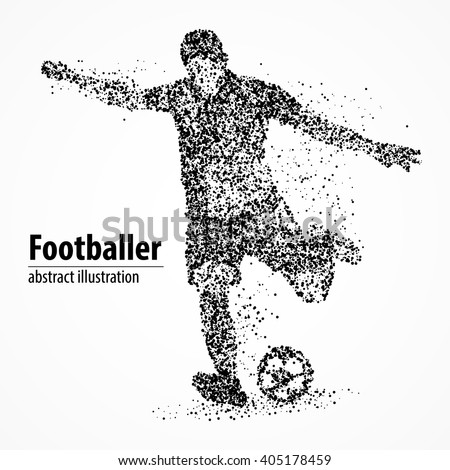Abstract football player kicking the ball out of the black circles. Vector illustration. - stock vector