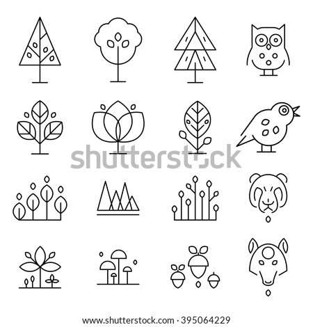 Abstract Forest Drawing Collection  In Minimalistic Vector On Gray Background - stock vector