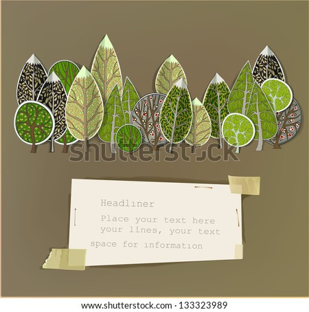 abstract forest made of paper stickers - stock vector