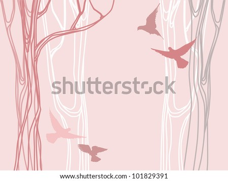 Abstract forest with linear trees silhouettes and flying birds over pink background - stock vector