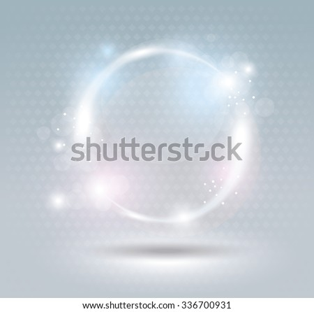 Abstract fractal blue background with crossing circles. - stock vector