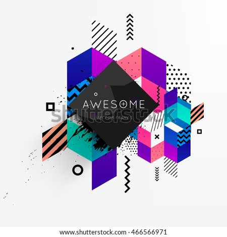 Abstract frame for your logo with abstract geometric pattern design, vector