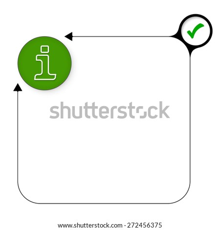 Abstract frame for your text with check box and info symbol - stock vector