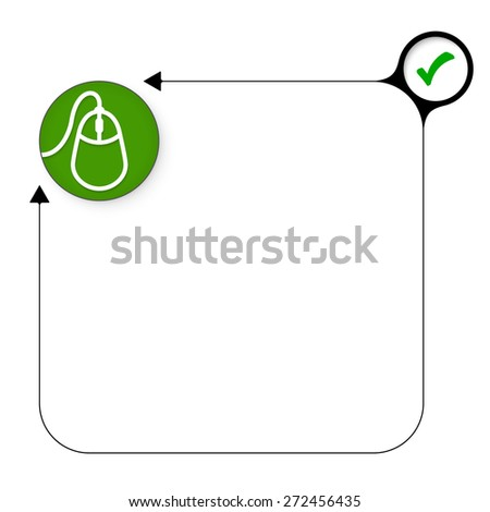 Abstract frame for your text with check box and mouse icon - stock vector