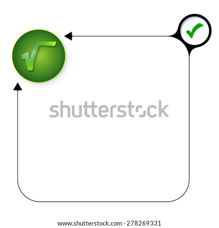 Abstract frame for your text with check box and radix symbol - stock vector