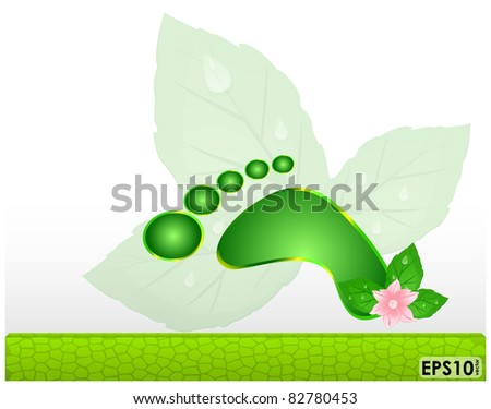 Abstract frame with green mosaic panel and the human footprint - stock vector