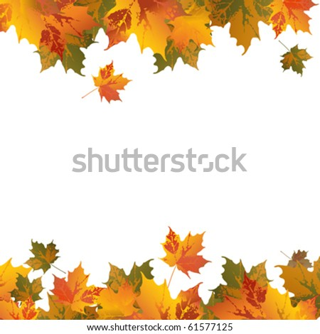 abstract frame with leafs, vector illustration - stock vector