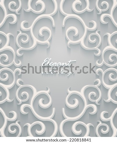 Abstract frame with paper swirls, vector ornamental background. - stock vector