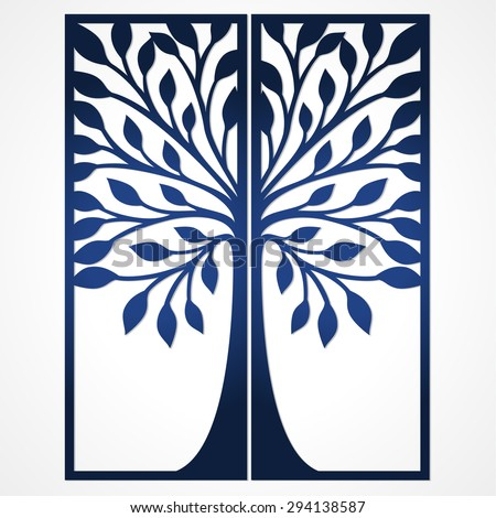 Abstract Frame Tree Suitable Laser Cutting Stock Vector Royalty