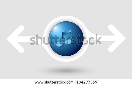 abstract frame with two arrows and music icon - stock vector