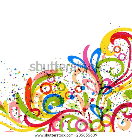 abstract framework with colors curl branches - stock vector