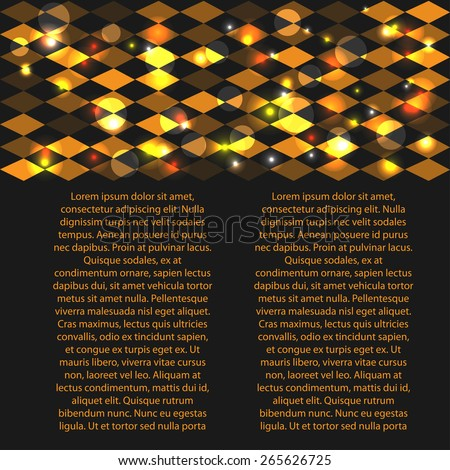 abstract framework with gold rhombus for your text or presentation - stock vector