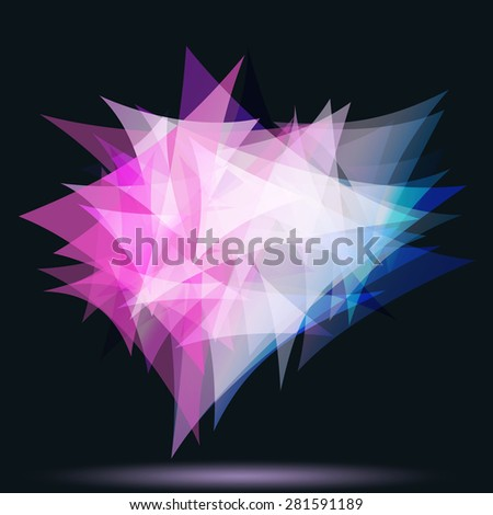 abstract free form of triangles, glowing in the dark. - stock vector