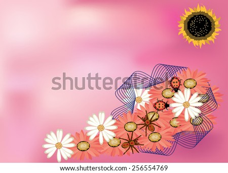 Abstract funny background of love, a conceptual design with a sunflower as a sun, spider and ladybug couples on flowers in a ribbon, that has a blank area for texts, for a post card or a gift card - stock vector