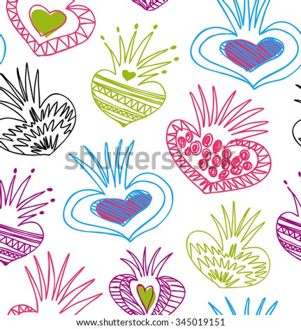 Abstract funny background. Seamless pattern with decorative doodle elements - stock vector