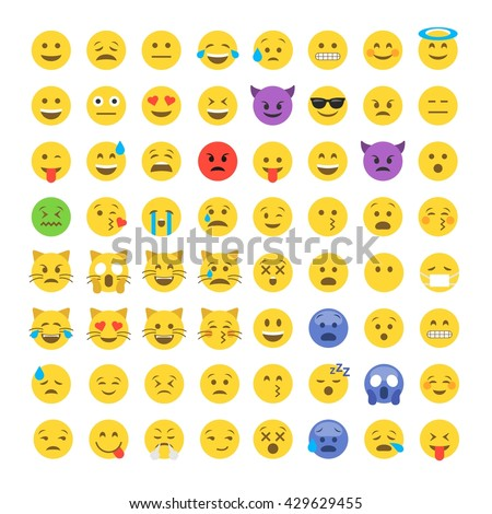 Abstract funny flat style emoji emoticon icon set