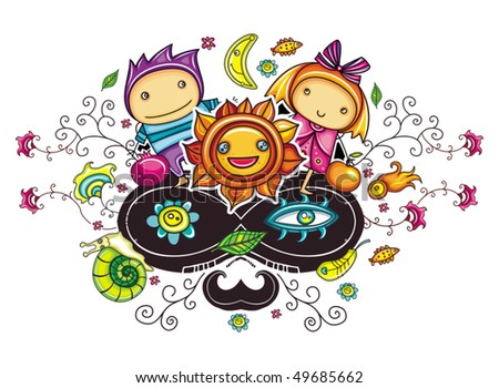 Abstract funny kids composition - stock vector
