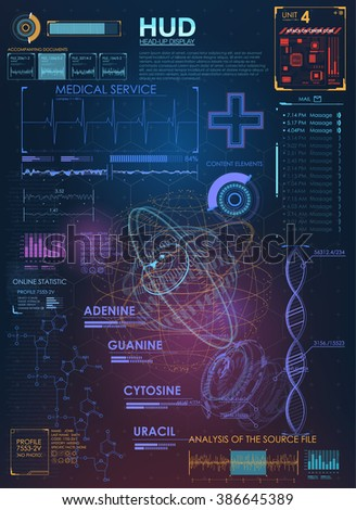 Abstract future medical, concept vector futuristic blue virtual graphic touch user interface HUD.  Infographic elements. futuristic user interface HUD - stock vector