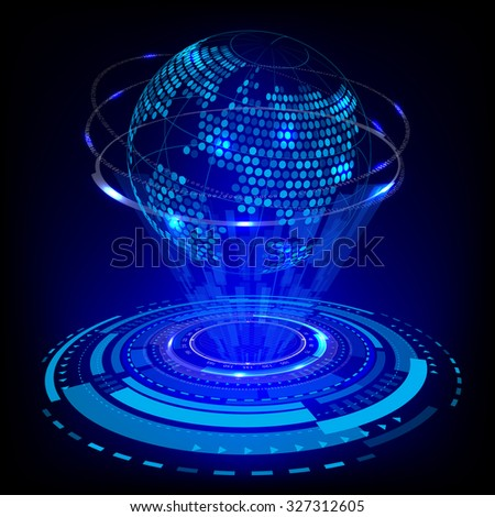 abstract future technology and world map concept background vector - stock vector