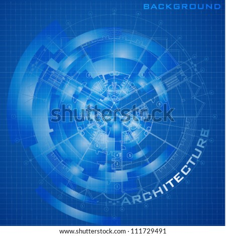 Abstract futuristic architectural design. Urban Blueprint (vector). Architectural background. Part of architectural project, architectural plan, technical project, construction plan - stock vector