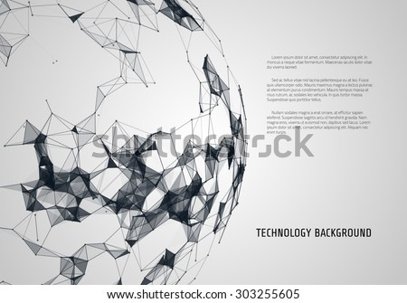 Abstract futuristic background with dots and lines. Vector illustration. - stock vector