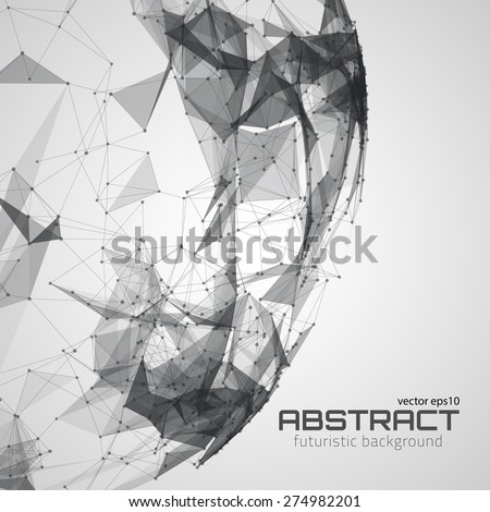 Abstract futuristic background with dots, lines and triangles. Vector illustration. - stock vector