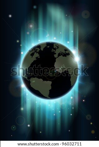 Abstract futuristic background with earth and stars in blues and greens - stock vector