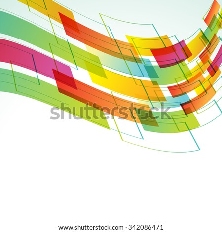 abstract futuristic background with wavy moving shapes on top - stock vector