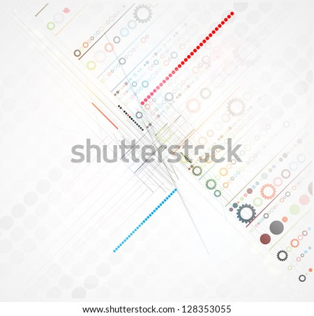abstract futuristic gear line technology business background - stock vector