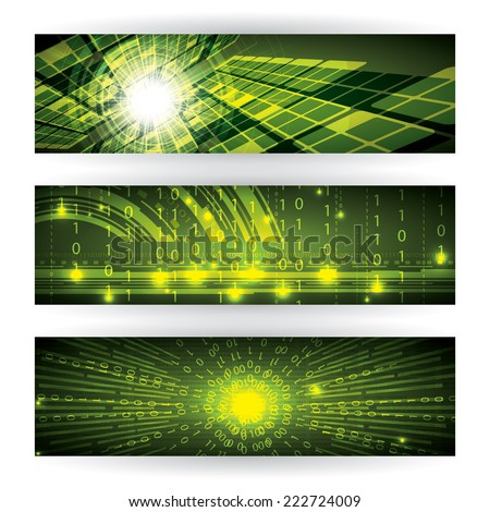 Abstract futuristic green matrix bright background illustration  - stock vector