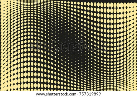 Abstract futuristic halftone pattern. Comic background. Dotted backdrop with circles, dots, point large scale. Design element for web banners, posters, cards, wallpapers, sites. Black, yellow color