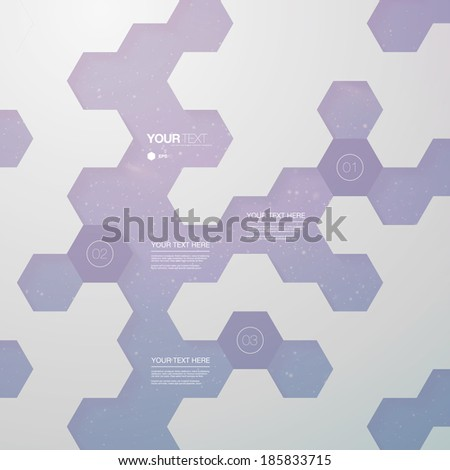 Abstract futuristic hexagon shape infographic design template for your business presentation with text and numbers  Eps 10 stock vector illustration  - stock vector