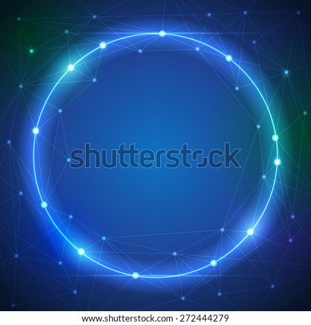 Abstract futuristic - Molecules and circle blue color ray light, digital technology  background. Illustration Vector design digital technology concept. Blank space for your design or text - stock vector
