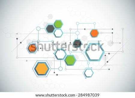 Abstract futuristic - Molecules technology background. Illustration Vector design digital technology concept. 