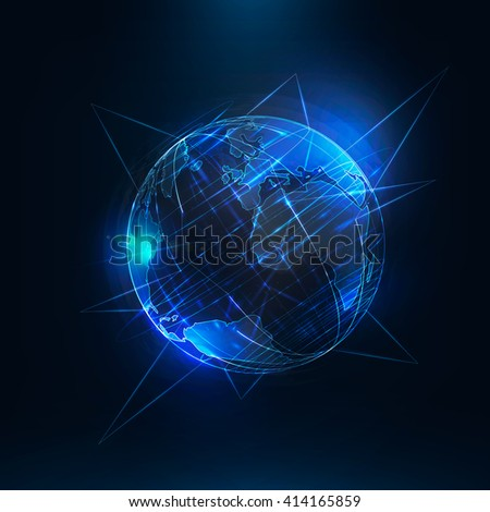 Abstract futuristic realistic earth . Sci Fi globe at motion . Global network connection . 3d planet with linear callouts . International communication . Technology background . Vector illustration - stock vector
