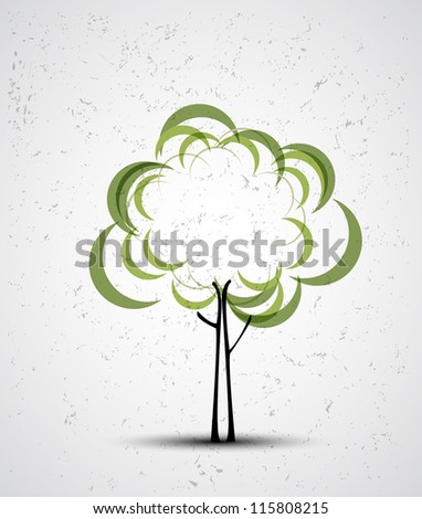 abstract futuristic stylized tree with color leafage - stock vector