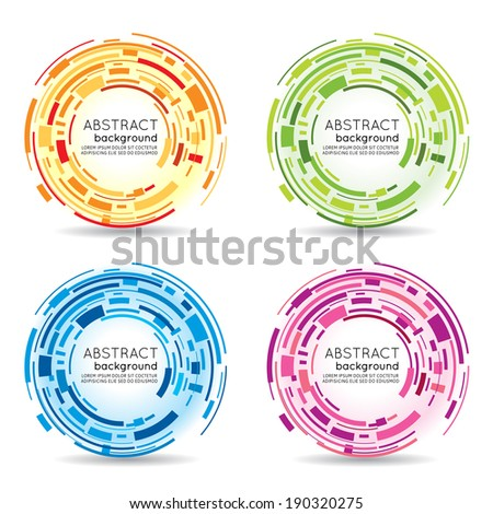 Abstract futuristic technology green 3D circle. Vector background ...