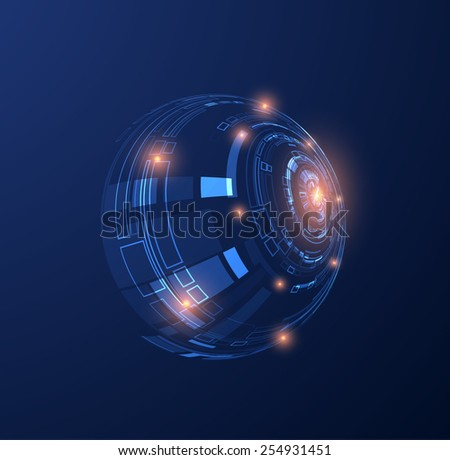 Abstract futuristic technology shiny background. Techno UI. Vector eps10. - stock vector