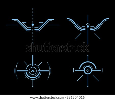 Abstract Futuristic Virtual Graphic Touch User Interface Design. Heads-Up Display - HUD. Sci-Fi User Interface. Vector Illustration. - stock vector