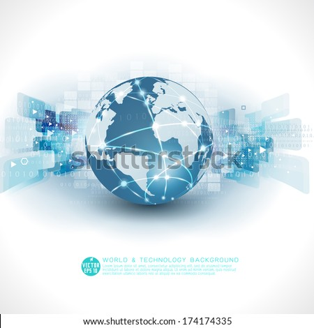 Abstract futuristic world & technology business background and space for text, vector illustration - stock vector