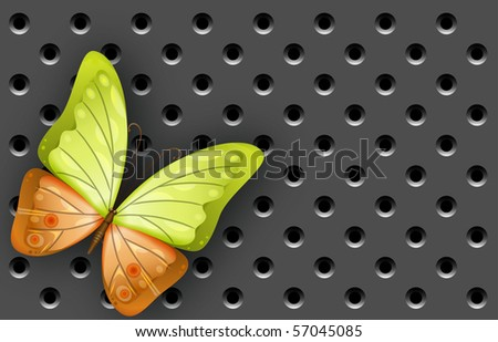 Abstract gear background with the butterfly - vector illustration - stock vector