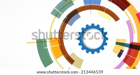 abstract gear logical vector technology background. computer integration - stock vector