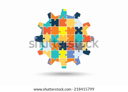 Abstract gear made of puzzle pieces, vector  illustration - stock vector